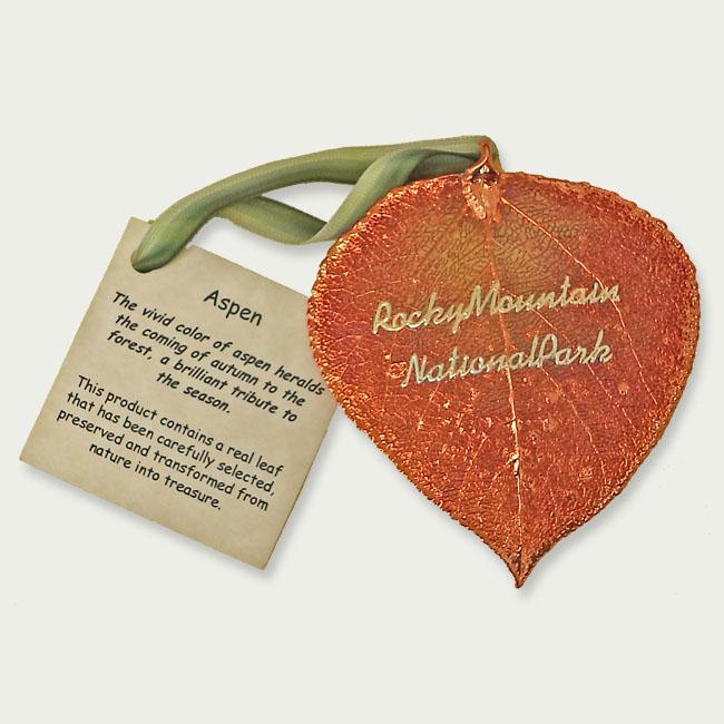 Ornament Aspen Leaf Copper Rocky Mountain National Park