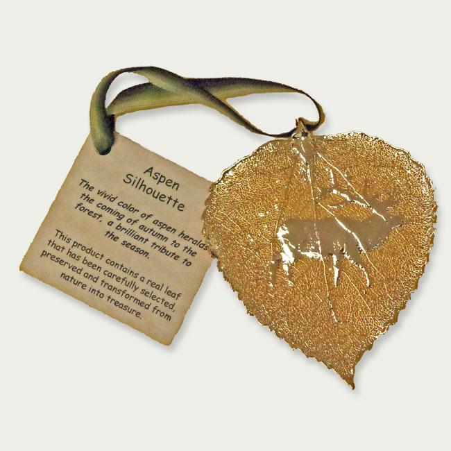 Ornament Aspen Leaf Gold Elk
