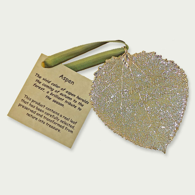 Ornament Aspen Leaf Silver Rocky Mountain National Park