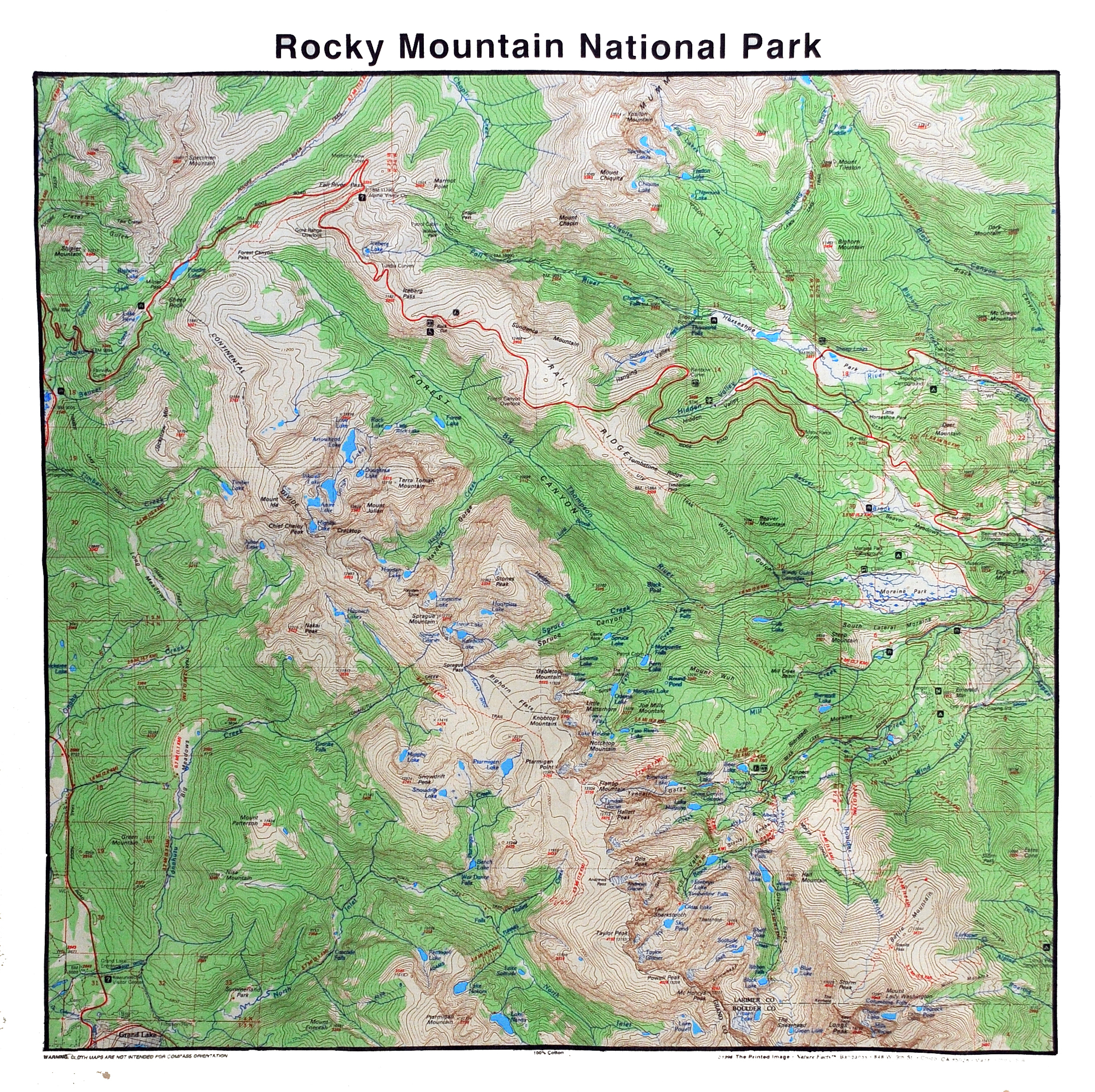 Map Of Rocky Mountain National Park Bandana Map of Rocky Mountain National Park   Rocky Mountain